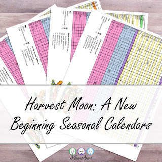 3 Years Apart Harvest Moon: A New Beginning Seasonal Calendar Free Printable