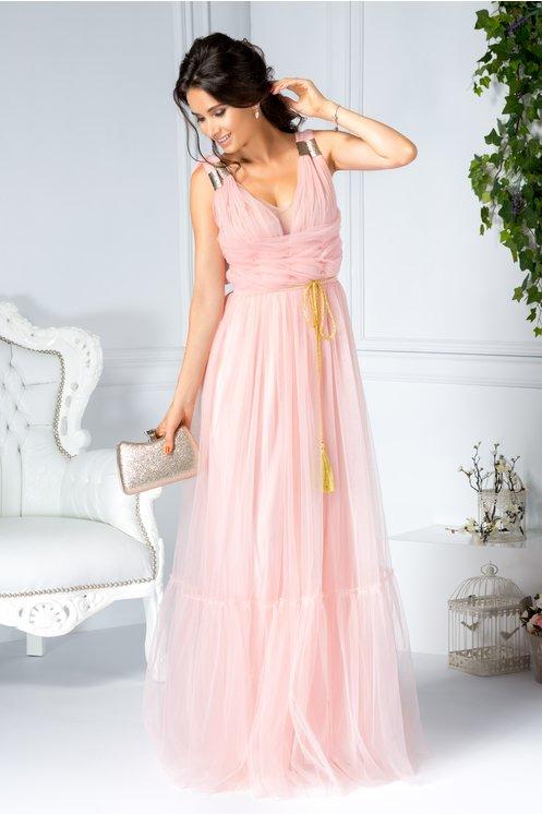 Rochie roz eleganta lunga de seara  Textura delicata din tull  Decolteu drapat in forma de V  Insertii metalice aurii pe umeri