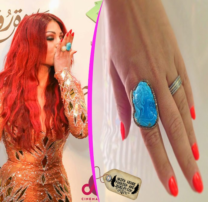 6e92119c1e Haifa Wehbe rocking her Limited edition hand crafted Turquoise stone mixed  with brown oxidized diamonds by By L Jewelry Couture