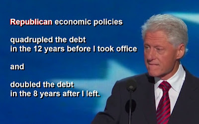 "Clinton: ""Republican economic policies quadrupled the debt in the 12 years before I took office and doubled the debt in the 8 years after I left."""
