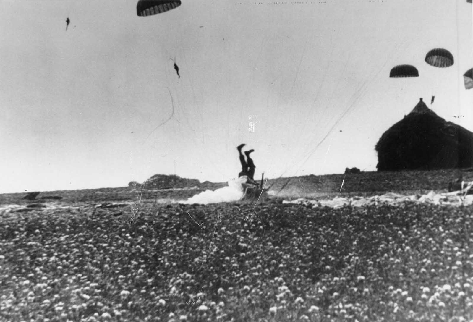 The haystack at right would have softened the landing for this paratrooper who took a tumble during operations in Holland by the 1st Allied Airborne Army on September 24, 1944.