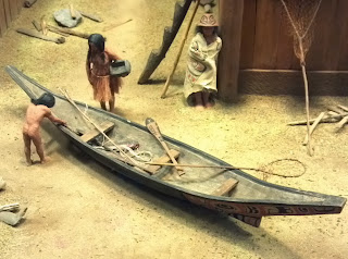 Haida fishing canoe model