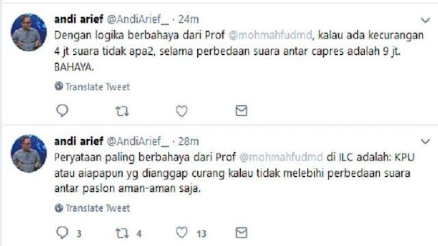 Sindir Omongan Mahfud MD di ILC, Andi Arief: Pernyataan Paling Berbahaya