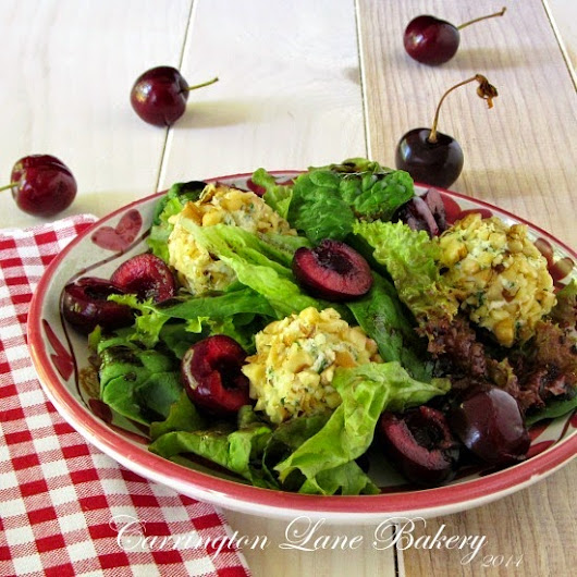 Cherry and Herbed Cheese Salad with Chocolate Balsamic Vinaigrette