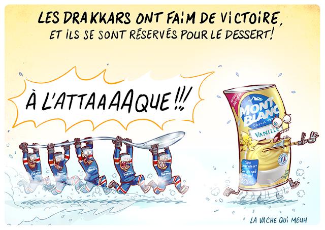 Une boite de dessert mont blanc se fait pourchassée par l'équipe de hockey de Caen