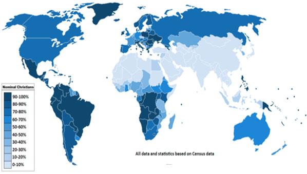 jumlah umat kristen di dunia
