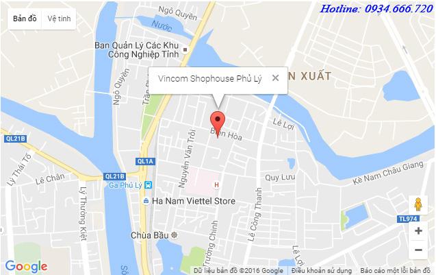 Vị trí Vincom Shophouse Phủ Lý - Hà Nam