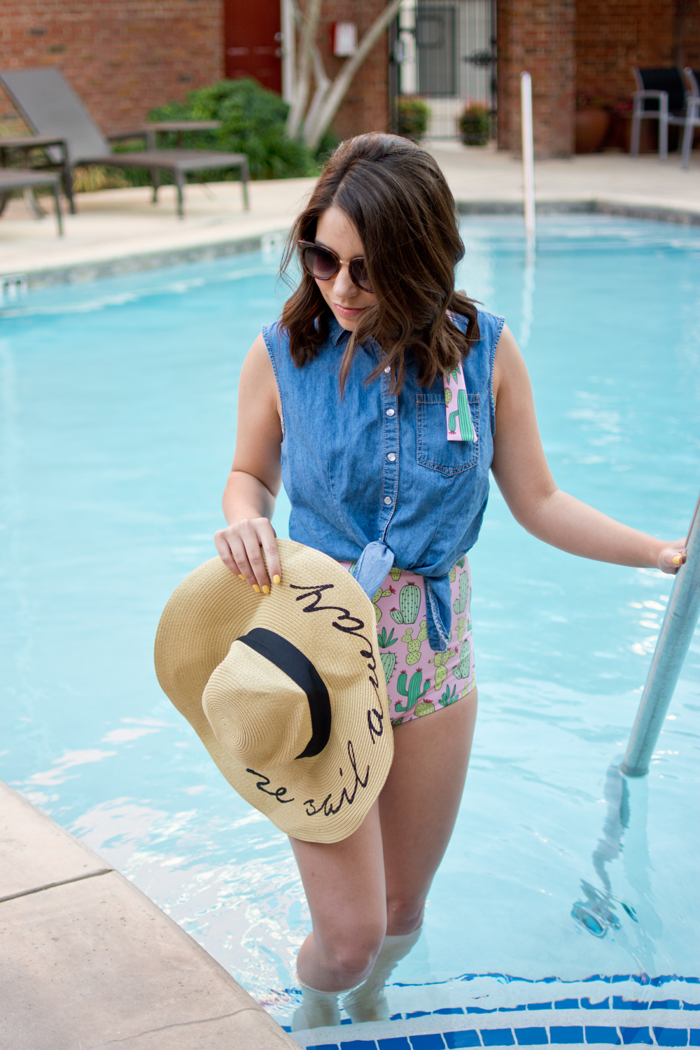 vintage pool outfit, pool day, summer outfit, cursive floppy hat, cactus print swimsuit, blogger, fashion blogger, summer style