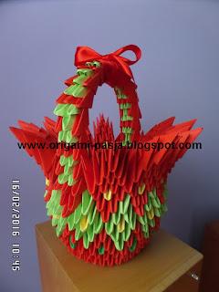 Koszyczek wielkanocny - origami modułowe , 3d.