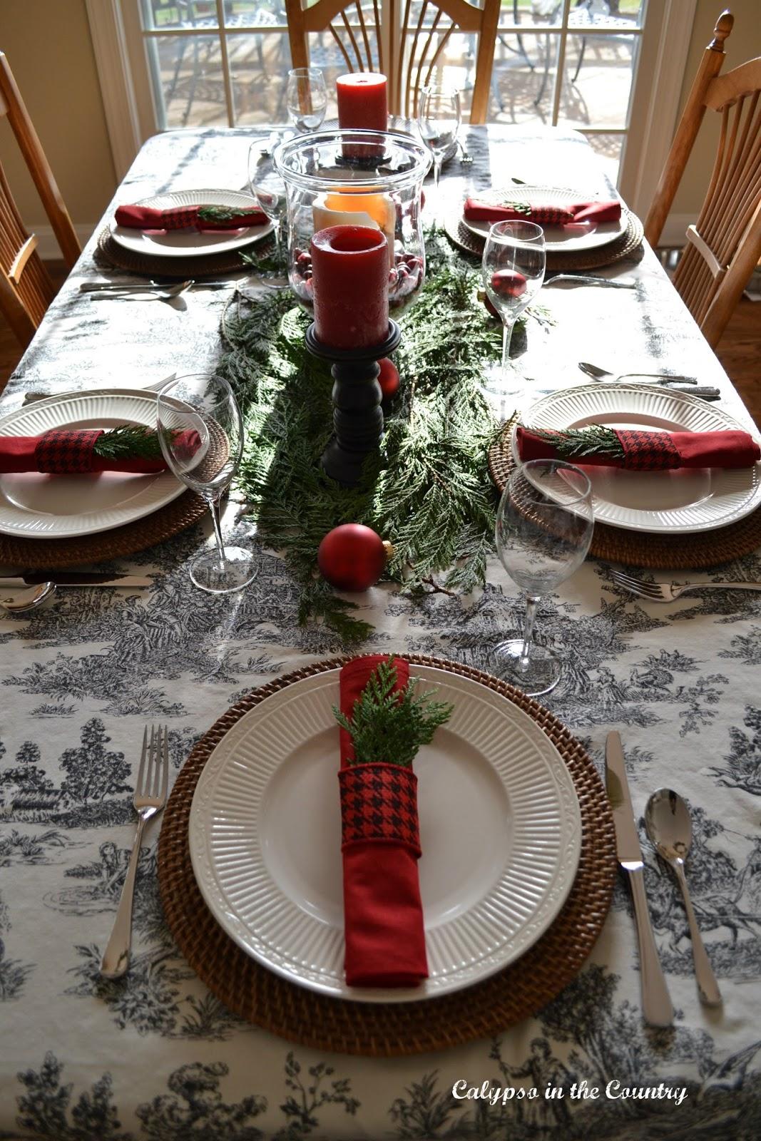 Toile Table Setting for Christmas