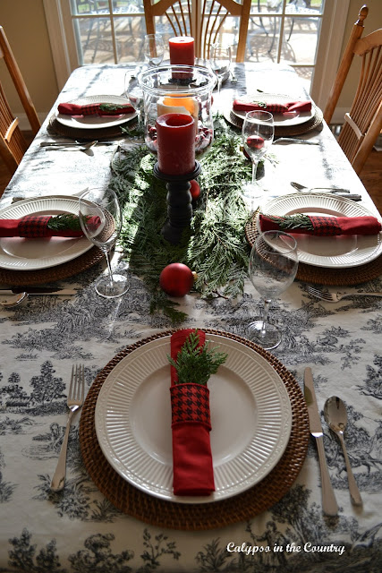 Toile Table Setting for Christmas