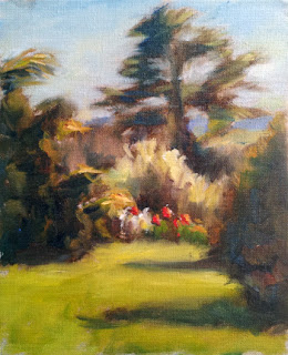 Oil painting of a garden including flowers and cedar trees.