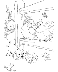 Dog And Chicken On Livestock Coloring Sheet