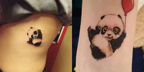 sevimli panda dövmesi cute panda tattoo