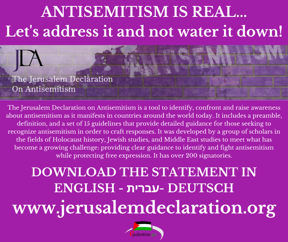 The Jerusalem Declaration On Antisemitism (JDA)