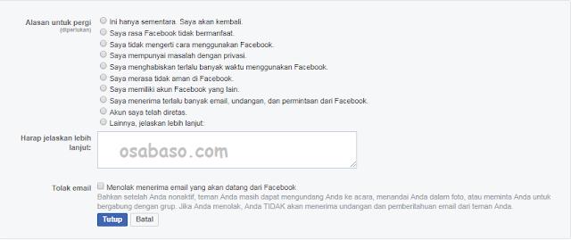Cara menghapus akun facebook permanen terbaru