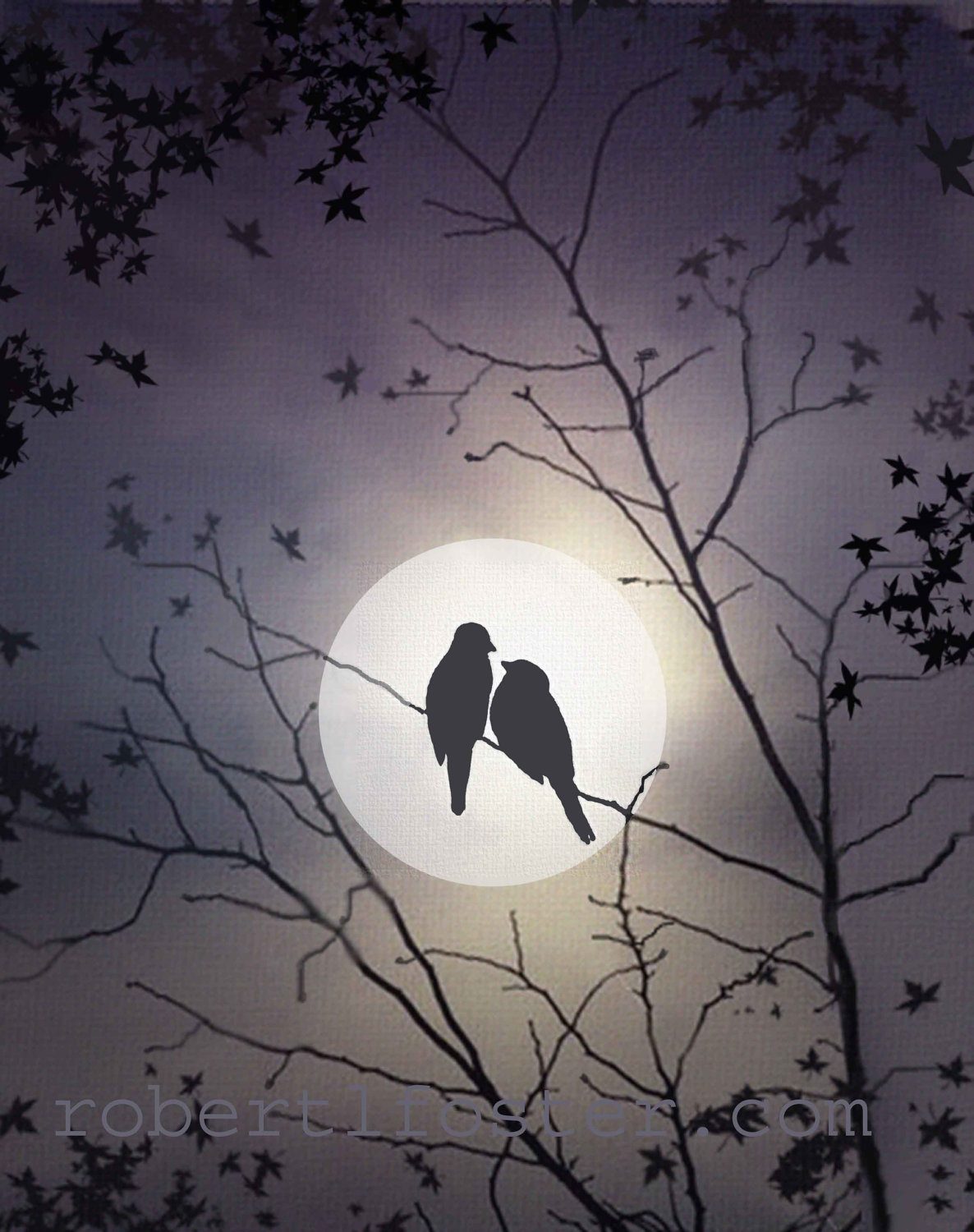 It is a picture of Légend Birds In The Moon Drawing