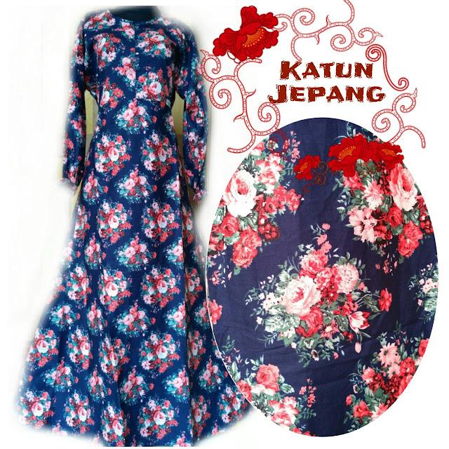 gamis katun jepang terbaru motif bunga canti