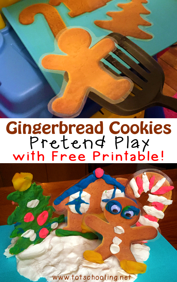 Gingerbread Cookies Pretend Play with Free Printable