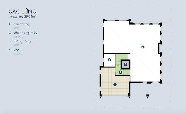 Thiết kế tầng áp mái biệt thự Bạch Kim