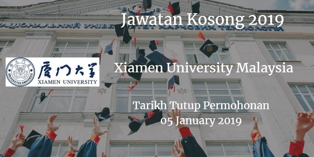 Jawatan Kosong Xiamen University Malaysia 05 January 2019