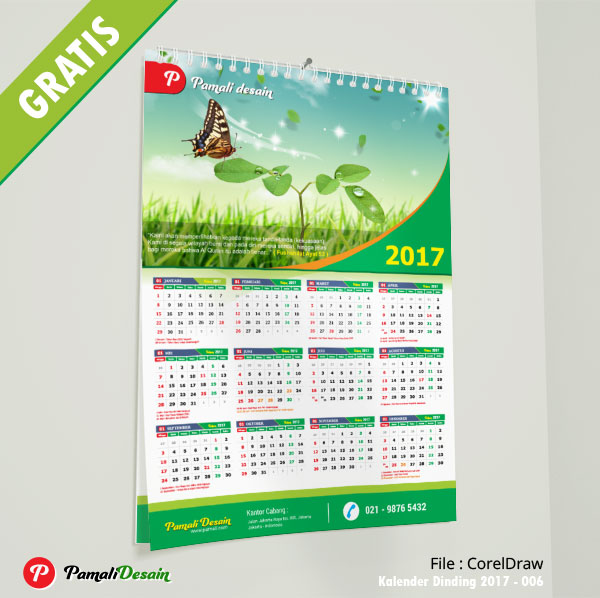 Desain Kalender Dinding 2017 006 Ukuran A3 12 Bulanan Download Gratis
