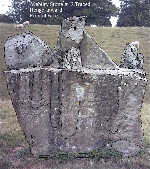 Avebury Stone #42 Henge-Inward Face Photo Traced