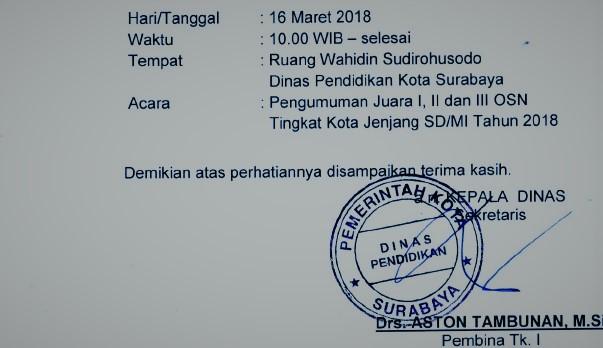 Pemerintah Kota Surabaya Melalu Dalam Hal ini dinas pendidikan kota surabaya sudah member Pengumuman OSN SD Tigkat Kota Surabaya