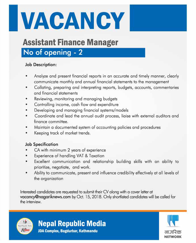 Vacancy Announced For Assistant Finance Manager Post