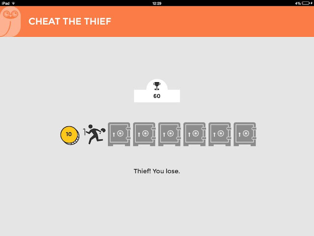 Screenshot of the 'Cheat the thief' game by OWL Birmingham.