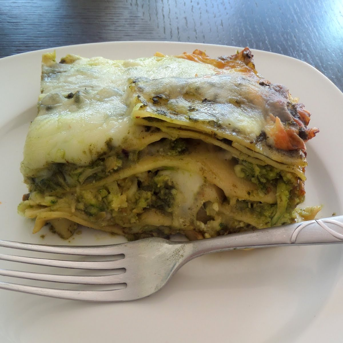 Green Lasagna:  A meatless lasagna layered with green vegetables, cheese, chickpeas, and pesto.