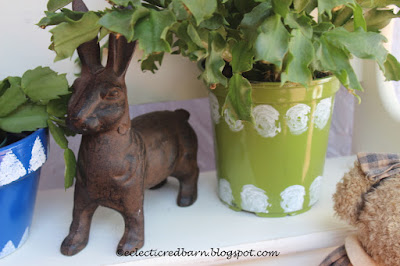 Eclectic Red Barn: Christmas cactus in new flower pots with bunny.