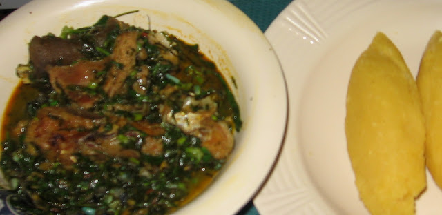 Afang soup with eba