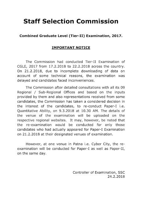 SSC CGL Tier II Reexams 2018
