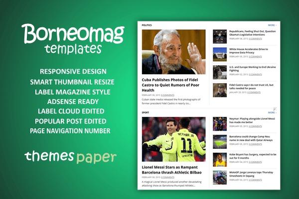 template blog berita, borneomag