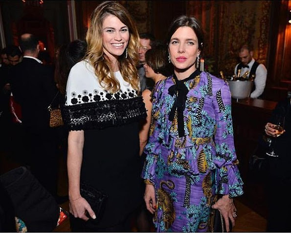 Charlotte Casiraghi wears Gucci Ruffled Floral-Print Silk Crepe Dress - Gucci Resort 2017 Collection at VanityFairFrance Dinner
