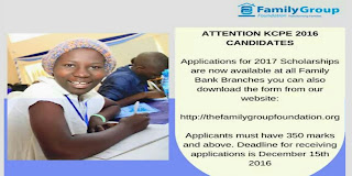 Family bank group foundation opens kcpe 2017 schorlaship applications to students