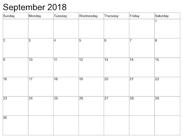 September 2018 calendar UK