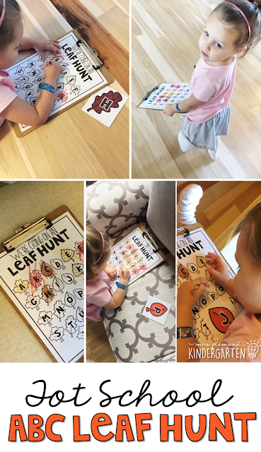 Learning is more fun when it involves movement! Practice letter identification with this fun alphabet leaf hunt. Great for tot school, preschool, or even kindergarten!