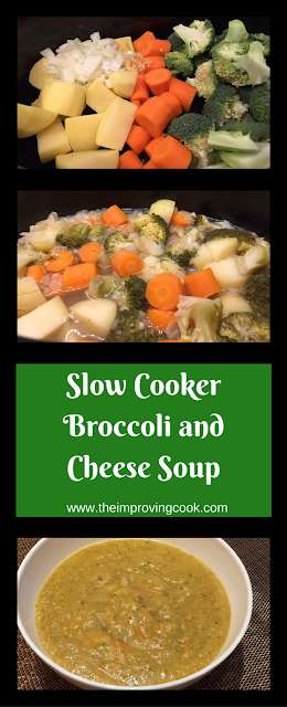 Slow Cooker Broccoli Cheese Soup pinnable image