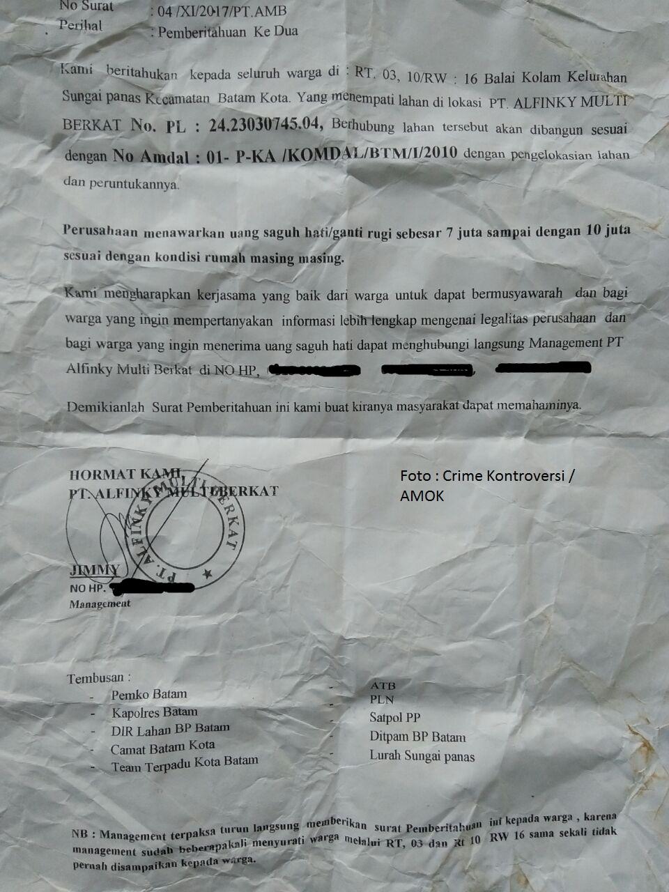 Inilah Surat Edaran Penggusuran Yang Diedarkan Oleh Pihak Manajemen Perusahaan Kepri Aktual Aktual Tajam Terpercaya