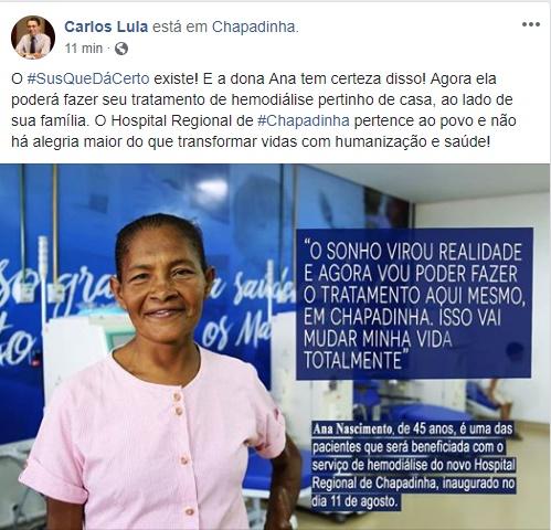 """""""Hospital Regional de Chapadinha põe fim no sofrimento e garante atendimento de qualidade aos paciente de Hemodiálise"""", afirma Secretário Carlos Lula."""