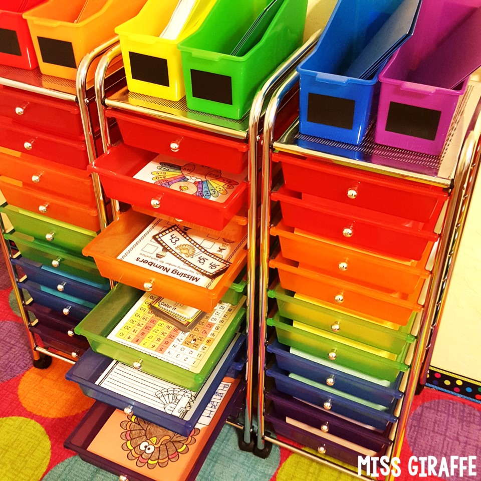 Classroom Organization Ideas For Preschool ~ Miss giraffe s class rainbow drawers cart
