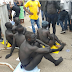 PHOTOS: PARTIALLY NAKED ABUJA INDIGENCES STAGE PROTEST OVER PERCEIVED MARGINALIZATION BY FG