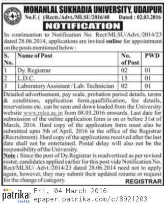 MLSU Udaipur Recruitment 2021 LDC Lab Assistant Dy. Registrar vacancies