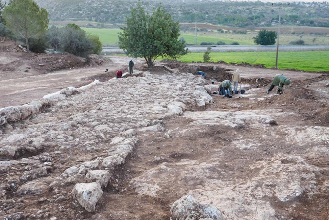 Ancient Roman road exposed near Beit Shemesh