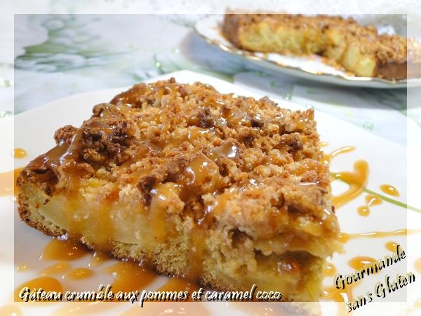 Gâteau crumble aux pommes, caramel coco