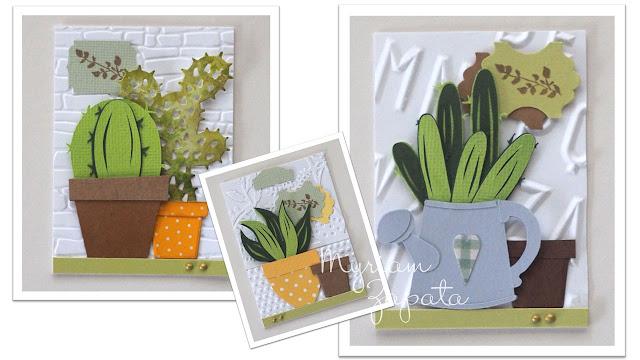 Detalle de 3 ATC Cactus. Paper piecing y figuras troqueladas
