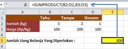 Contoh Rumus SUMPRODUCT Data Horizontal