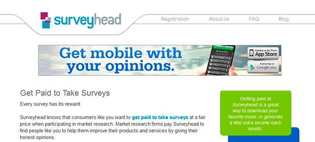 Surveyhead, Gana dinero rellenando encuestas